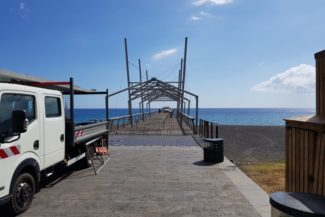 Ein Blick vom Pier auf dem das Feuerwerk aufgebaut wurde auf Saint Paul